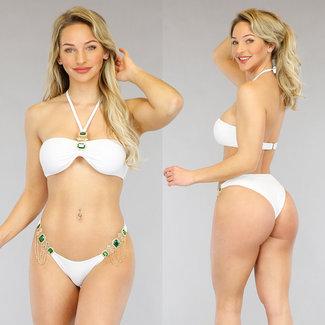 Witte Strass Bandeau Bikini met Halter
