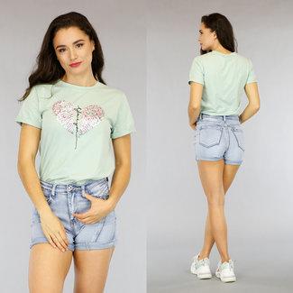 Lichtgroen T-Shirt met Pailletten Hart