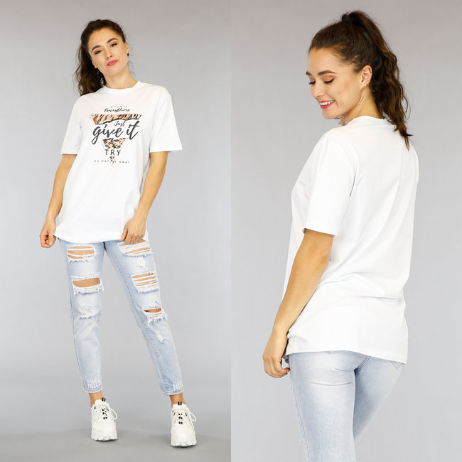 Wit Oversized Just Give it a Try T-Shirt