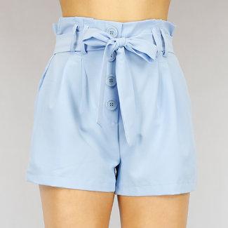 Lichtblauw Paperbag Short met Knopen