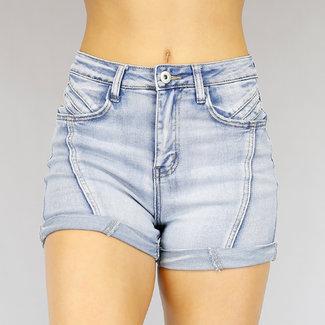 Basic Lichtblauw High Waist Jeans Short