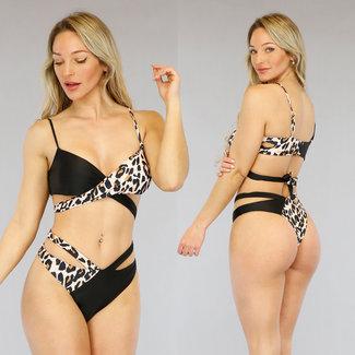 Zwarte Luipaardprint Wrap Bikini met High Cut Broekje