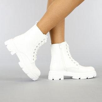 Witte Lederlook Veter Boots Enkellaarsjes