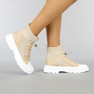 OP=OP Hoge Beige Sock Sneakers met Elastische Sluiting