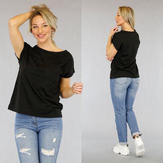 Basic Zwart Oversized T-Shirt met Borstzakje
