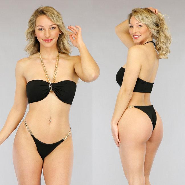 Zwarte Bandeau Bikini met Chain Details