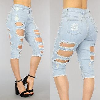 High Waist Gescheurde Jeans Bermuda