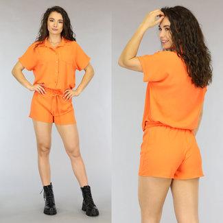 Oranje Loose-Fit Set met Paperbag Short