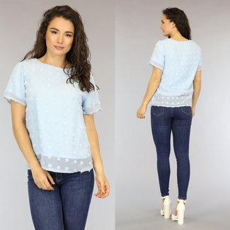 Lichtblauw Loose-Fit Polkadot Shirt