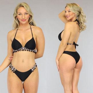 Zwarte Push-Up Boho Bikini met Luipaardprint