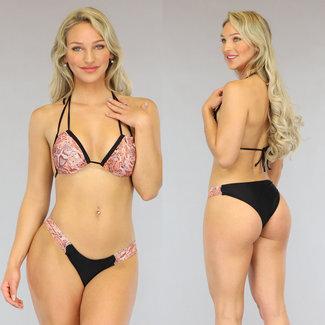Snake Triangel Bikini met Dubbele Halter