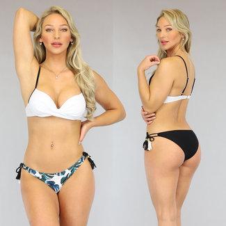 Witte Push-Up Bikini met Leaf Print Broekje