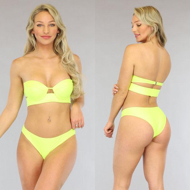 Neon Gele Push-Up Bandeau Bikini