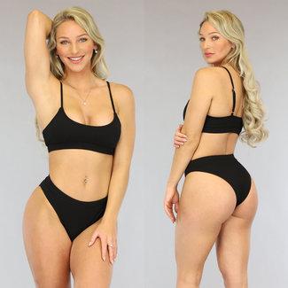 Zwarte High Waist Rib Bikini