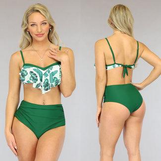 Groene High Waist Bikini met Waterval Top