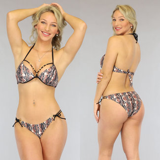 Bruine Push-Up Snake Bikini met Straps