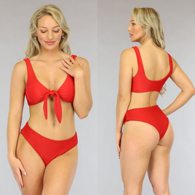 Rode High Waist Bikini met Strik