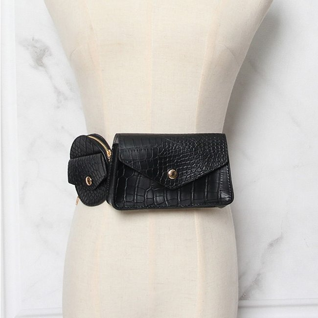 Zwarte Dubbele Kroko Waist Bag