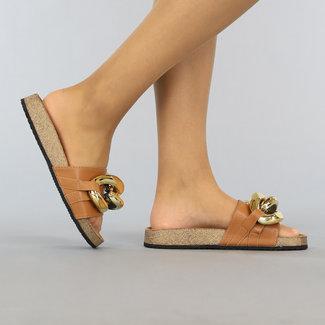 NEW1106 Camel Lederlook Chain Slippers