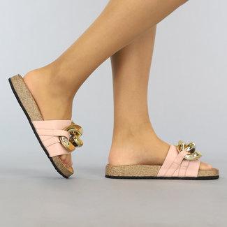 NEW1106 Roze Lederlook Chain Slippers