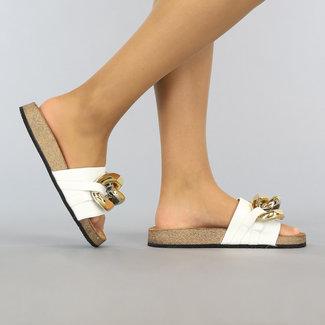 NEW1106 Witte Lederlook Chain Slippers