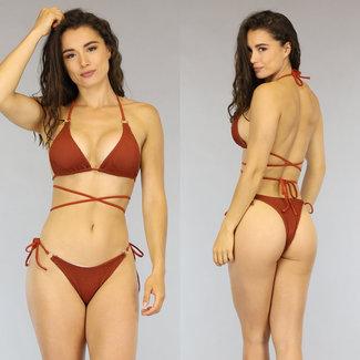 NEW1606 Roestbruine Scrunch Bikini met Strikdetail
