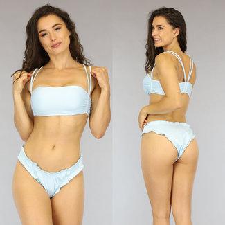 Lichtblauwe Geplooide Rib Bikini