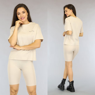 NEW2306 Beige Oversized French Touch T-Shirt