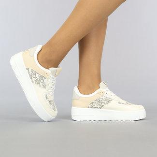 NEW2306 Beige Plateau Sneakers met Print