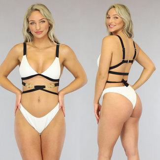 NEW3006 Witte Rib Bikini met Straps