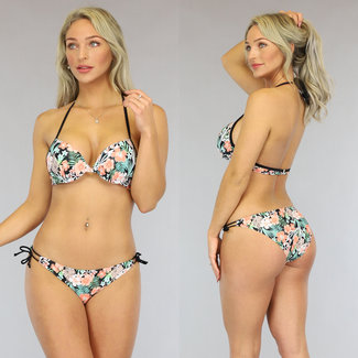 Push-Up Triangel Bikini met Bloemenprint