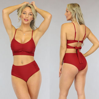 NEW3006 Wijnrode Geplooide High Waist Bikini