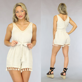 NEW2107 Beige Ibiza Style Playsuit met Tailleband