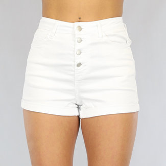 Basic Wit High Waist Jeans Short met Knopen