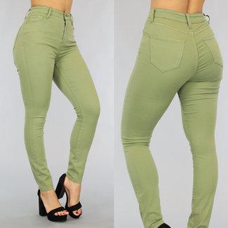 Olijfgroene High Waist Stretch Jeans
