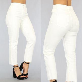 Basic Witte Straight Leg Jeans