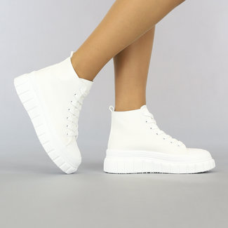 NEW2307 Witte Hoge Canvas Sneakers