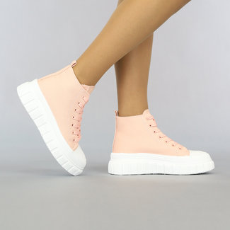 NEW2307 Lichtroze Hoge Canvas Sneakers