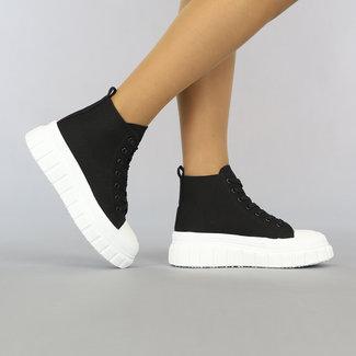 NEW2307 Zwarte Hoge Canvas Sneakers