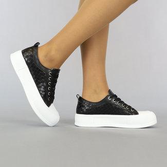 NEW2307 Zwarte Geruite Sneakers met Grove Zool