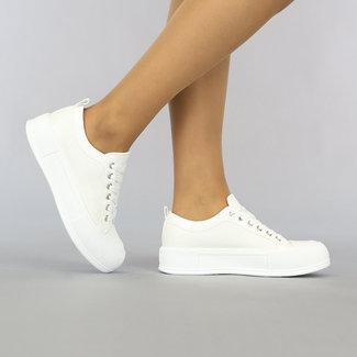 NEW2307 Witte Geruite Sneakers met Grove Zool