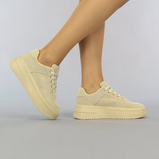 Camel Lage Sneakers met Plateauzool