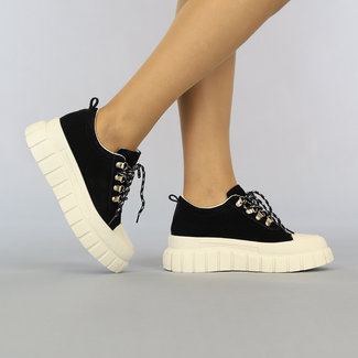 NEW2307 Zwarte Suède-Look Sneakers met Grove Beige Zool