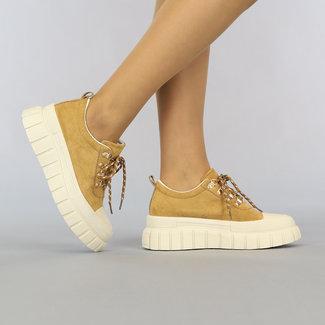 NEW2307 Camel Suède-Look Sneakers met Grove Beige Zool