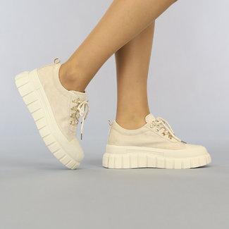 NEW2307 Beige Suède-Look Sneakers met Grove Beige Zool