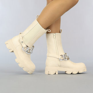 NEW2807 Beige Suède-Look Chelsea Boots met Chain