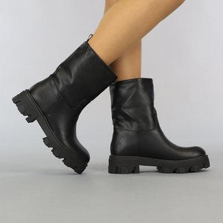 NEW2807 Zwarte Lederlook Boots