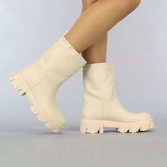 NEW2807 Beige Lederlook Boots