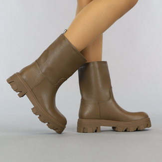 NEW2807 Bruine Lederlook Boots
