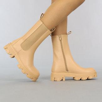 NEW2807 Basic Camel Lederlook Chelsea Boots